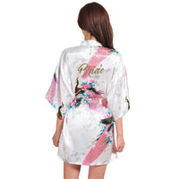 Floral Robe Satin Rayon Bathrobe Nightgown Kimono Sleepwear