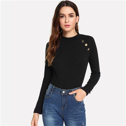 Black Modern Lady Weekend Casual Ribbed Knit Button Mock Neck Stand Collar Slim Fit Tee  Autumn Women Fashion Tshirt Top