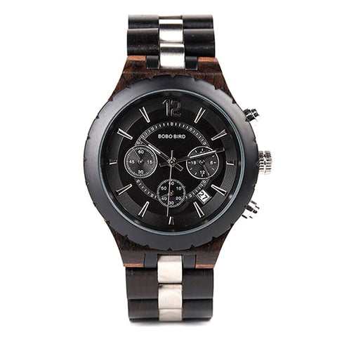 Watch Wood Luxury Stylish Watches Timepieces Chronograph Military Quartz