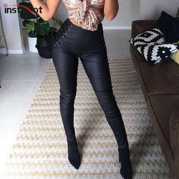 Side Lace Up Back Zip Pencil High Waist Leggings