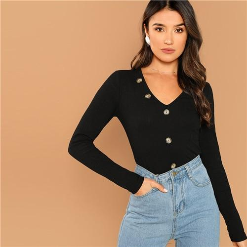 Black Elegant Solid Button Detail Rib Knit V Neck Long Sleeve Pullovers Tee Autumn Office Lady Casual Women Fashion Tshirt Top