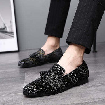 Tassel Loafer Formal Shoes  Men's Casual Leather Wedding Party Dress Shoes Male Footwear Slip On Pointed Toe Shoes
