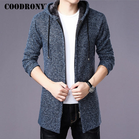 Thick Warm Long Cardigan  Hood Sweater Coat With Cotton Liner Zipper Hoodies