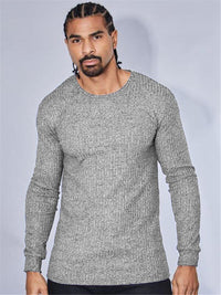 Long Sleeve Solid Color T-shirt  Slim Fit Sweater