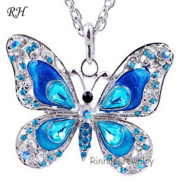 Butterfly jewelry  accessories popular hip enamel crystal butterfly pendant long necklace
