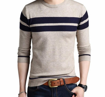 Autumn Winter Thick Warm Wool Sweaters Casual Slim Fit O-Neck Pullovers