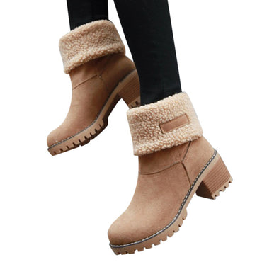 Round Toe Shoes Flock Warm Slip-On Snow Boots
