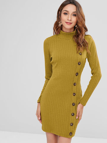 Turtleneck Buttons Knitted Sweater Long Sleeve Tight Bodycon Mini Dress