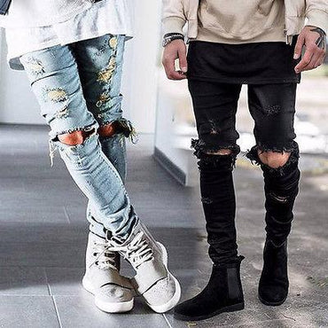 Street designer destroyed ripped skinny distressed high quality comfortable Jeans