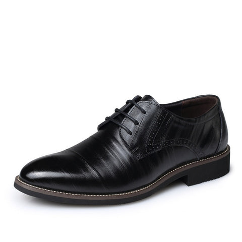 Leather Concise Men Business Dress Pointy Black Shoes Breathable Formal Wedding Basic Shoes