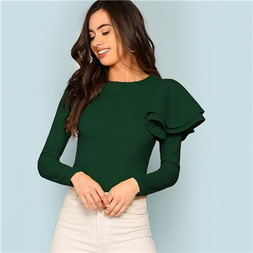 Green Office Lady Elegant Ruffle One Sleeve Zip Back Workwear Slim Fit Pullovers Tee Autumn Long Sleeve Women Fashion Tshirt Top