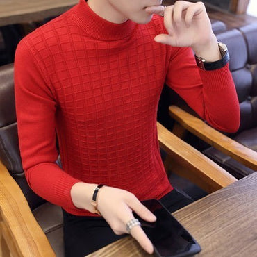 Turtleneck Sweater Male Plaid Knitted Pullover Sweaters