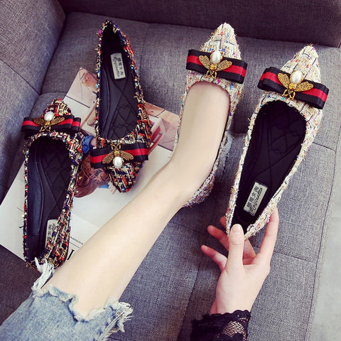 Rhinestone  Lightweight Breathable  Lazy Loafers Casual Canvas Flat Shoe