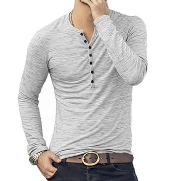 Men's Henley Shirt  Long Sleeve Stylish Slim Fit Tee Tops Button Collar Casual T-shirt