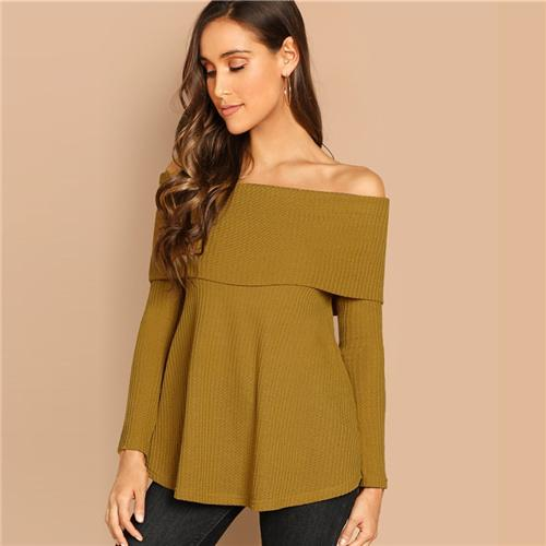 Highstreet Ginger Foldover Front Off Shoulder Fitted Pullovers Tee  Autumn Casual Women Modern Lady Fashion Tshirt Top