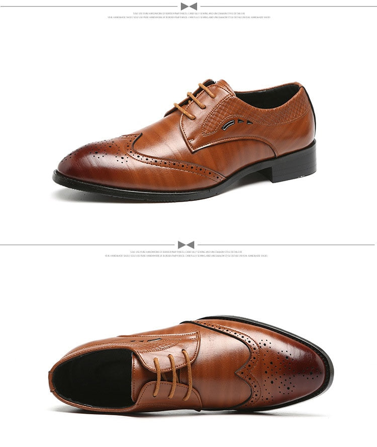109434eaaac1 Luxury Men Artificial Leather Oxford Wedding Shoes Vintage Carved Brogues  Dress Shoes Lace Up Formal Men Shoes