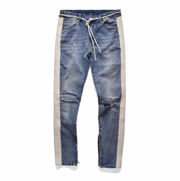 zipper ripped fashion destroyed skinny 2 colors denim jeans