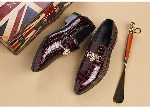 Luxury Crocodile Grain Slip-On Oxfords Shoes Men Casual Fashion Pointed Toe Dress Shoes
