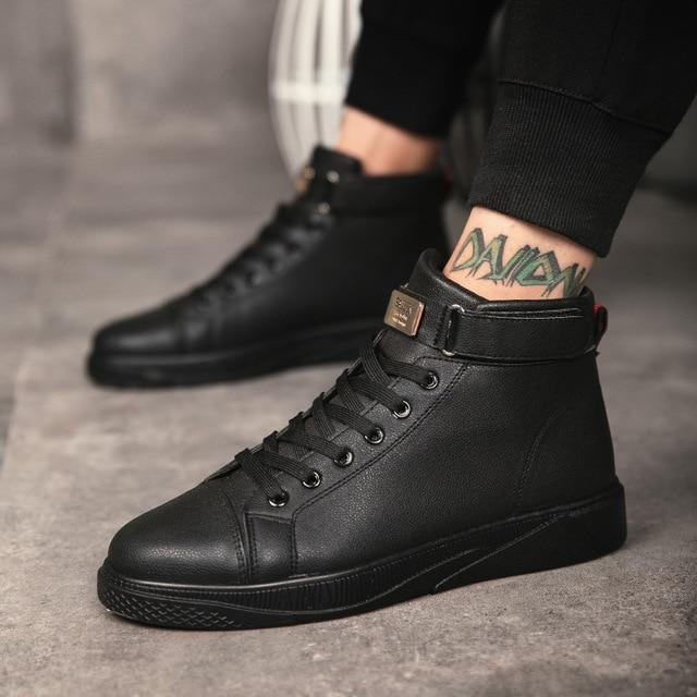 7f414fa4 Black Red Men Lace Up Ankle Boots Flats Shoes High Top Leather Casual Shoes  Men's Vulcanize senakers Walking Shoes
