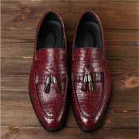 Crocodile Leather Tassel Slip On Oxford Shoes