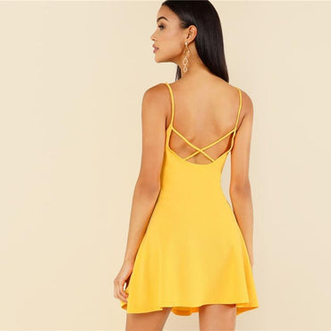 Yellow Criss Cross Open Back Sexy Dresses