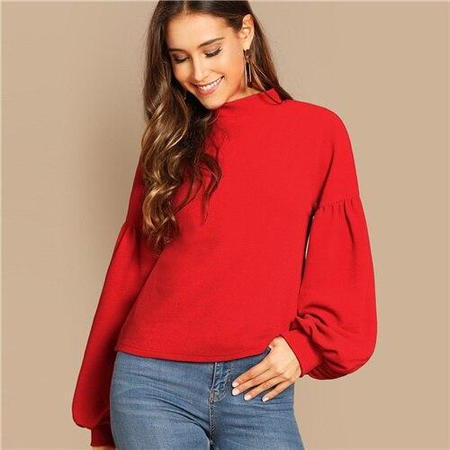 Red Button Back Balloon Sleeve Top Stand Collar Solid Long Sleeve Highstreet Autumn Casual Christmas Women Fashion Tshirt Top