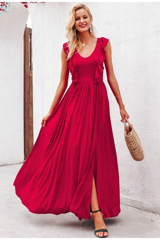 Sexy pleated red ruffles long dress