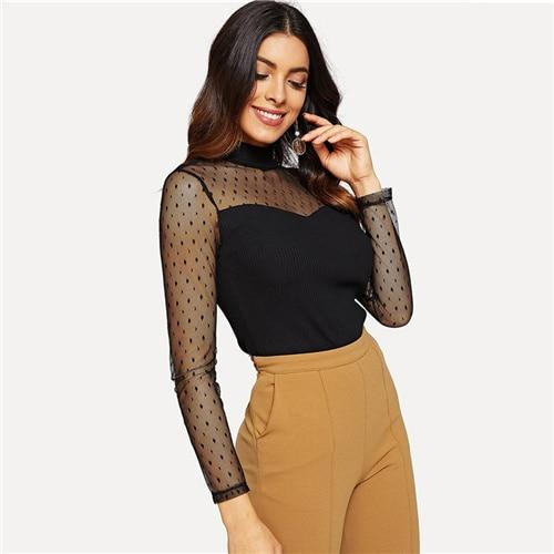 Black Dot Mesh Sweetheart Rib Knit Tee Stand Collar Long Sleeve Slim Fit T-shirt  Women Spring Elegant Party Tops