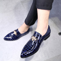 Crocodile Grain Slip-On Oxfords Shoes