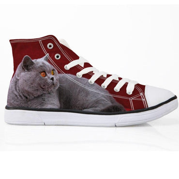 3D British Short-hair Cat Brand Vulcanize Canvas Shoes & Sneakers