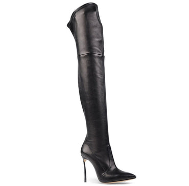 Black leather Point Toe High Heels Over the Knee Boots