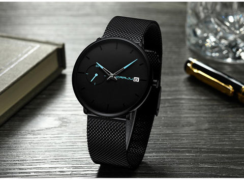 Top Brand Luxury Waterproof Sport Watch Men Ultra Thin Dial Quartz Watch