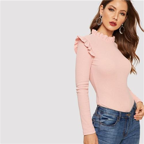 Pink Frill Neck Stand Collar Ruffle Shoulder Ribbed Knit Slim Fit T Shirt Women Autumn Casual Long Sleeve Fashion Tshirt Top