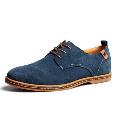 New Men's Genuine Leather Casual Shoes  Men's Shoes Lace-Up Solid Men Flat Shoes