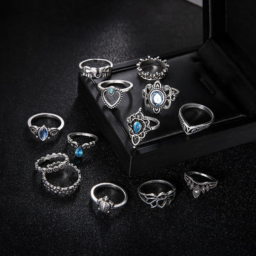13 pcs/set Finger Ring Set  Heart Totem Hollow Crown