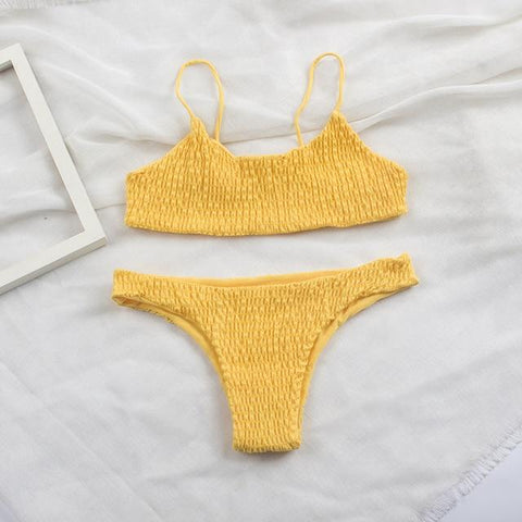 Sexy Pleated Bikini Brazilian High Cut Swimwear