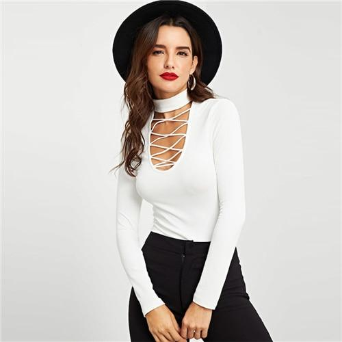 White Crisscross Choker Neck Ribbed Knit Slim Fit Plain Top Stand Collar Party Tee Women  Spring T-shirt Tops