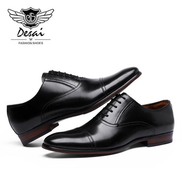 Brand Full Grain Leather Business Dress Shoes Retro Patent Genuine Leather Oxford Shoes