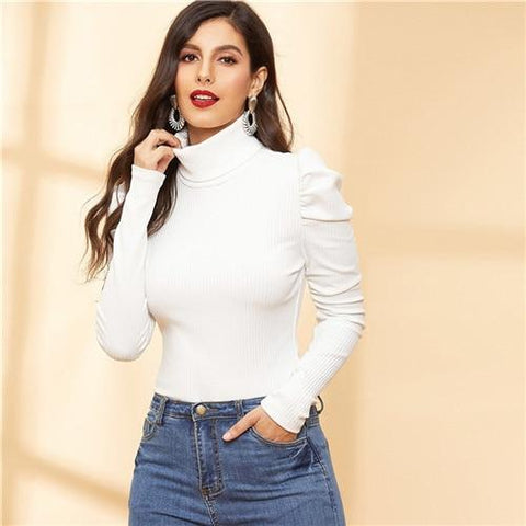 White Turtle Neck Puff Sleeve Rib Knit Slim Fitted Tee Women Autumn Casual High Street Long Sleeve Fashion Tshirt Tops