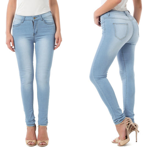 Casual Elastic High Waist Single-breasted Pocket Skinny Jeans