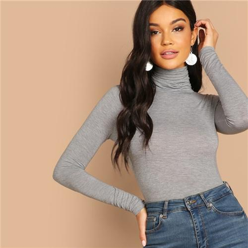 Grey Elegant Turtleneck High Neck Stretchy Slim Fit Plain T-shirt Autumn Casual Workwear Women Tops And T shirt