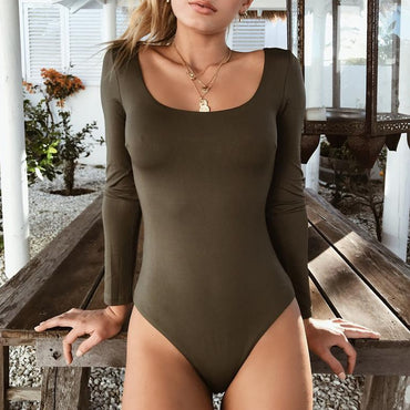 Long Sleeve Cotton Black Sexy Bodycon Bodysuit