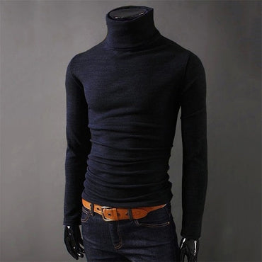 Black Knitwear Casual Winter Male High Collar Polo Sweter
