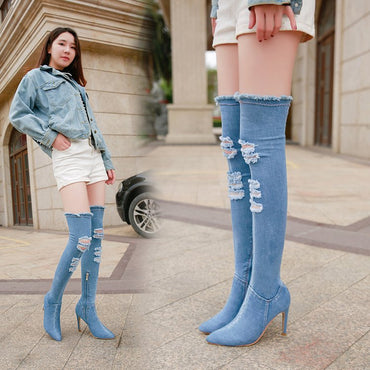 Hollow out Pointed Toe Over Knee Blue Denim Lace-up Gladiator Boots