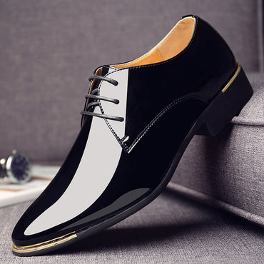 Black White Men Wedding Shoes Patent Leather Oxford Shoes