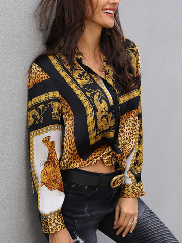 Elegant Party Loose Button Shirt Turn-down Collar Leopard Print Knot Front Long Sleeve Blouse