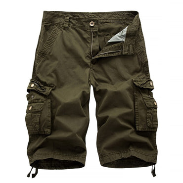 Washed Cotton Long Capris Multi-Pockets Casual Cargo Shorts