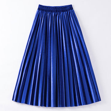 Velvet Skirt High Waist Large Swing Metallic Long Pleated Skirts