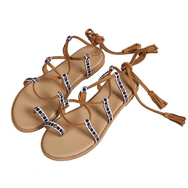 Boho Sandals Flat Lace Up Ladies Flip Flops Nation Style Beach Gladiator Sandal