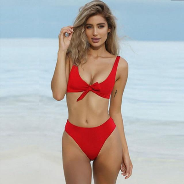 Solid Color Bikini Sexy Large V Neckline High Waist Push Up Swimwear